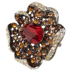 K.J.L. Cocktail Ring Flower Red Amber Clear Rhinestones KJL Kenneth Jay Lane Small Size