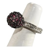 K.J.L. Ring Eternity Band Rhinestone Ball Pink Clear Finger Size 5 to 6 Kenneth Jay Lane KJL