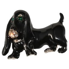 K.J.L. Brooch Basset Hound Dog Pin Rhinestones Enamel Brooch Kenneth Jay Lane KJL