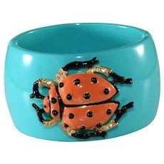 KJL Bracelet Ladybug Beetle Hinged Cuff Kenneth Jay Lane