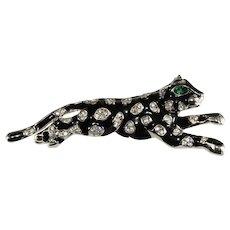 K.J.L. Brooch Black Big Cat Leopard Rhinestones Enamel Pin Kenneth Jay Lane KJL