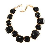 K.J.L. Necklace Black Resin Asymmetrical Collar Kenneth Jay Lane KJL