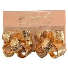 K.J.L. Earrings Bow Gold Plated Kenneth Jay Lane KJL on Original Card
