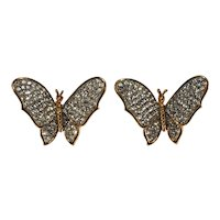 K.J.L. Earrings Butterfly Clear Rhinestones on Couture Card Clips KJL Kenneth Jay Lane