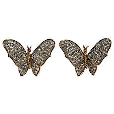 K.J.L. Earrings Butterfly Clear Rhinestones on Couture Card Clips KJL Kenneth Jay Lane