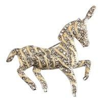 K.J.L. Brooch Circus Horse Pony Pin Rhinestones Enamel Brooch Kenneth Jay Lane KJL