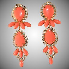 Kenneth Jay Lane 3 Inch Coral and Clear Rhinestone Dangle Earrings KJL