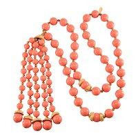 K.J.L. Necklace Coral Beads Tassel Kenneth Lane KJL