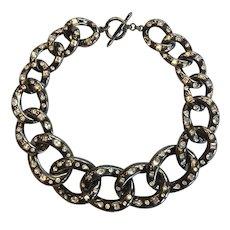KJL Necklace Chunky Hematite Rhinestone Chain K.J.L. Kenneth Jay Lane