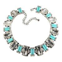 KJL Necklace Deco Style Collar Turquoise Blue Clear Rhinestones K.J.L. Kenneth Jay Lane