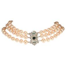K.J.L. Necklace Faux Pearls Art Deco Revival Rhinestone Clasp Kenneth Jay Lane KJL