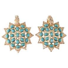 K.J.L. Faux Turquoise Clear Rhinestone Earrings Kenneth Jay Lane