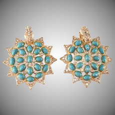 K.J.L. Faux Turquoise Clear Rhinestone Earrings Kenneth Jay Lane