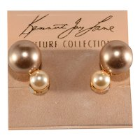 K.J.L. Earrings Double Faux Pearls on Card Couture Collection Kenneth Jay Lane KJL