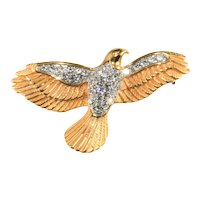 K.J.L. Brooch Dove Bird Clear Rhinestones Pin Kenneth Jay Lane KJL