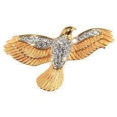 K.J.L. Brooch Dove Bird Clear Rhinestones Pin Kenneth Jay Lane KJL