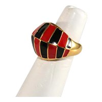 K.J.L. Ring Enamel Black Red Gold Plated Kenneth Jay Lane KJL Adjustable