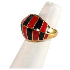 K.J.L. Ring Enamel Black Red Gold Plated Kenneth Jay Lane KJL Adjustable
