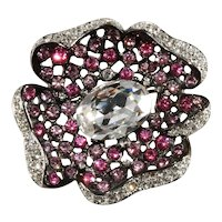 K.J.L. Brooch Flower Pin Pink Clear Rhinestones