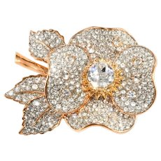 K.J.L. Brooch Flower Pin Clear Rhinestones Kenneth Jay Lane KJL