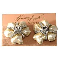 K.J.L. Faux Pearl Clear Rhinestone FLower Earrings Kenneth Jay Lane KJL