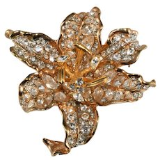KJL Brooch Flower Clear Rhinestones Pin Kenneth Jay Lane K.J.L.