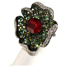 K.J.L. Cocktail Ring Flower Rhinestones Red Green Clear Size 7 Adjustable