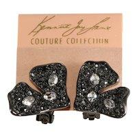 K.J.L. Earrings Freeform Clear Rhinestones Hematite Plated KJL Kenneth Jay Lane