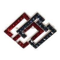 K.J.L. Brooch Geometric Red Blue Rhinestones Kenneth Jay Lane KJL Pin