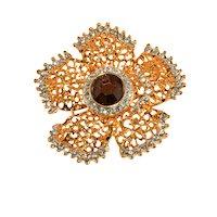 KJL Brooch Flower Gold Plated Rhinestones Pin Kenneth Jay Lane K.J.L.