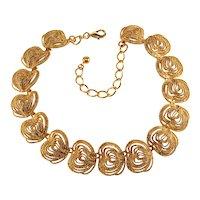 K.J.L. Necklace Gold Plated Metal Swirls Freeform Hearts Rope Textured Kenneth Lane KJL