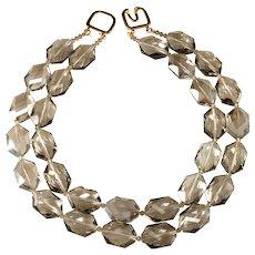KJL Necklace Gray Glass Beads Faceted Kenneth Jay Lane K.J.L.