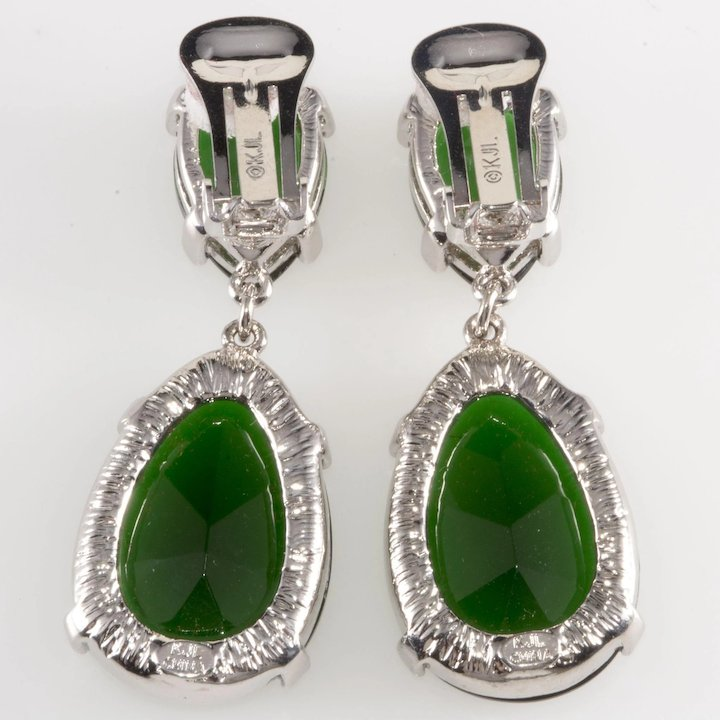 Kjl Kenneth Jay Lane Green Rhinestone Dangle Drop Earrings