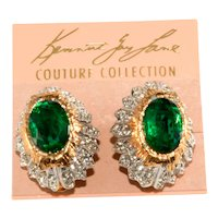 K.J.L. Earrings Green Clear Rhinestones Vintage on Card