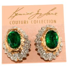 K.J.L. Earrings Green Clear Rhinestones Vintage on Card