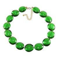 K.J.L. Necklace LARGE Beads Green Resin Collar Kenneth Jay Lane KJL