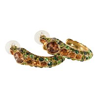 K.J.L. Earrings Snakes Green Amber Yellow Rhinestones on Couture Card Pierced