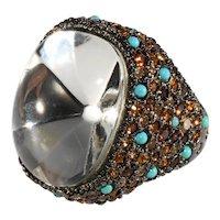 K.J.L. Ring Clear Headlight Stone Amber Rhinestones Blue Beads Finger Kenneth Jay Lane KJL