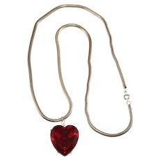 K.J.L. Necklace Pendant Red Heart Snake Chain Silver Tone KJL Kenneth Jay Lane