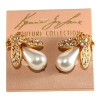 KJL Earrings Insects Rhinestones Faux Pearls Bugs Original Couture Card