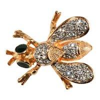 K.J.L. Pin Brooch Petite Insect Rhinestones Enamel Fly Kenneth Jay Lane KJL