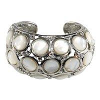 KJL Bracelet Hinged Cuff White Clear Rhinestones K.J.L Kenneth Jay Lane