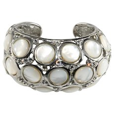 KJL Bracelet Hinged Cuff White Clear Rhinestones K.J.L Kenneth Jay Lane