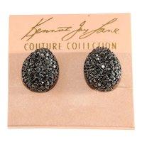 K.J.L. Earrings Teardrops Marcasite Gray Rhinestones on Couture Card Clips KJL Kenneth Jay Lane