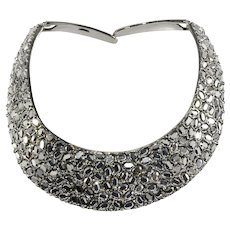 KJL Necklace Hinged Collar Silver Hematite Rhinestones