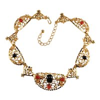 K.J.L. Necklace Collar Black and Carnelian Colored Glass Stones Kenneth Jay Lane KJL