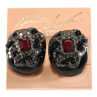 K.J.L. Earrings Octopus Black Enamel Red Rhinestones Kenneth Jay Lane KJL