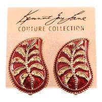 KJL Earrings Paisley Enamel Red Gold Plated Clips on Card Kenneth Lane K.J.L.