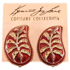 KJL Earrings Paisley Enamel Red Gold Plated Clips on Card Kenneth Lane K.J.L.