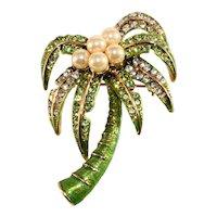 K.J.L. Brooch Green Palm Tree Rhinestones Faux Pearl Pin Kenneth Jay Lane KJL